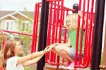 mother w daughter on playground